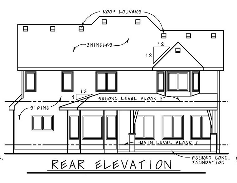 Country Craftsman Southern Rear Elevation of Plan 66773