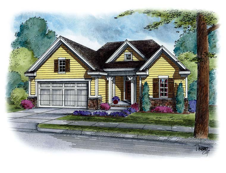 Cottage Country Southern Traditional Elevation of Plan 66776