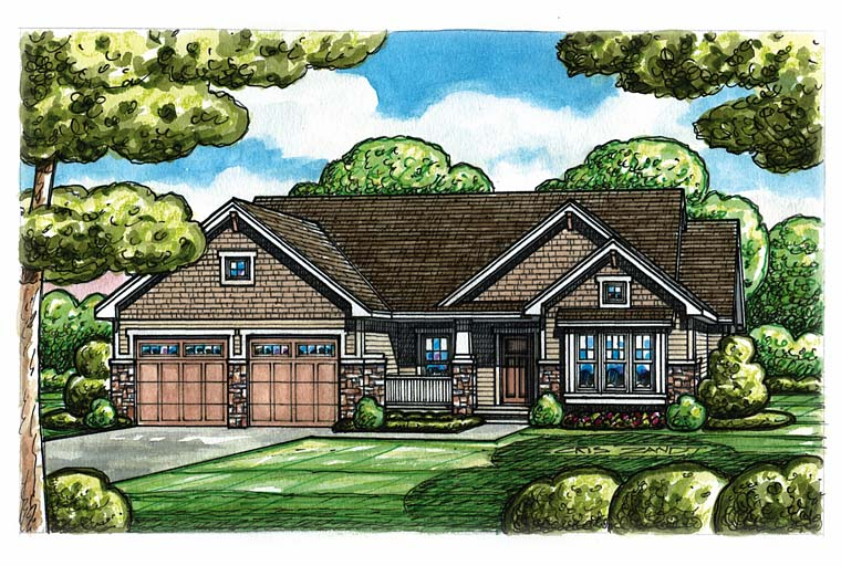 Cottage Craftsman Traditional House Plan 66777 Elevation