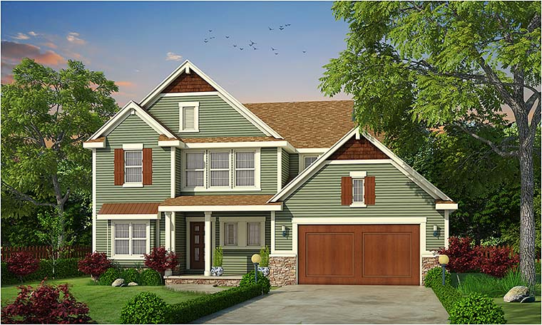 Cottage Country Craftsman Southern Traditional Elevation of Plan 66781