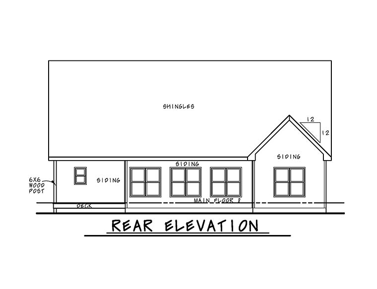 Cottage Country Craftsman Southern Traditional Rear Elevation of Plan 66782