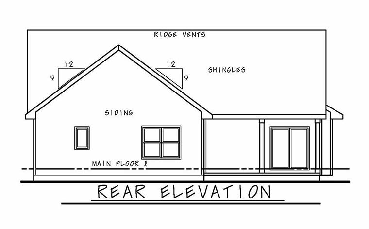 Ranch Traditional House Plan 66790 Rear Elevation