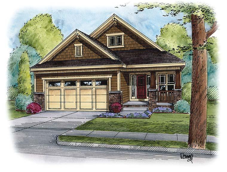 Cottage , Craftsman , Traditional House Plan 66792 with 3 Beds, 2 Baths, 2 Car Garage Elevation