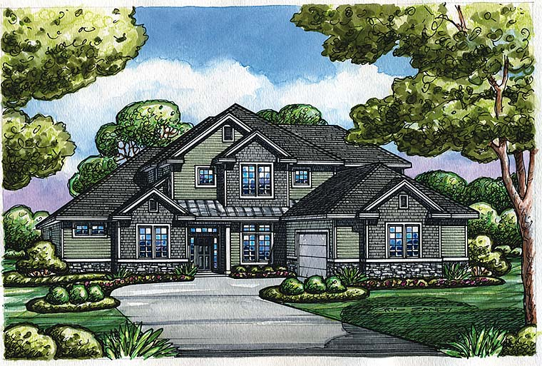 Craftsman, Traditional House Plan 66798 with 4 Beds, 4 Baths, 2 Car Garage Elevation