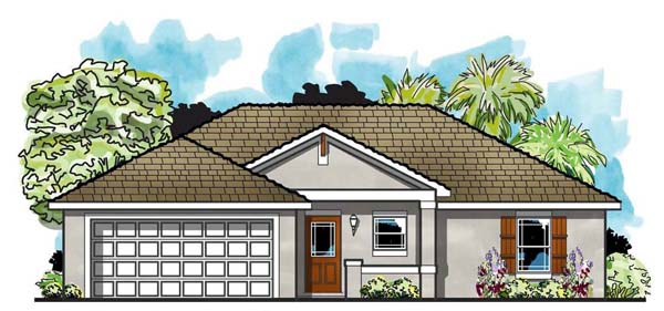 Cottage Craftsman Florida Ranch Traditional House Plan 66805 Elevation