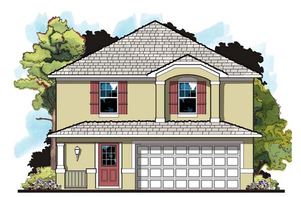 House Plan 66809 | Florida Traditional Style Plan with 1469 Sq Ft, 4 Bedrooms, 3 Bathrooms, 2 Car Garage Elevation