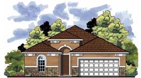 Mediterranean , Florida , Contemporary House Plan 66814 with 3 Beds, 2 Baths, 2 Car Garage Elevation