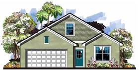 House Plan 66815 | Cottage Craftsman Florida Style Plan with 1596 Sq Ft, 3 Bedrooms, 2 Bathrooms, 2 Car Garage Elevation