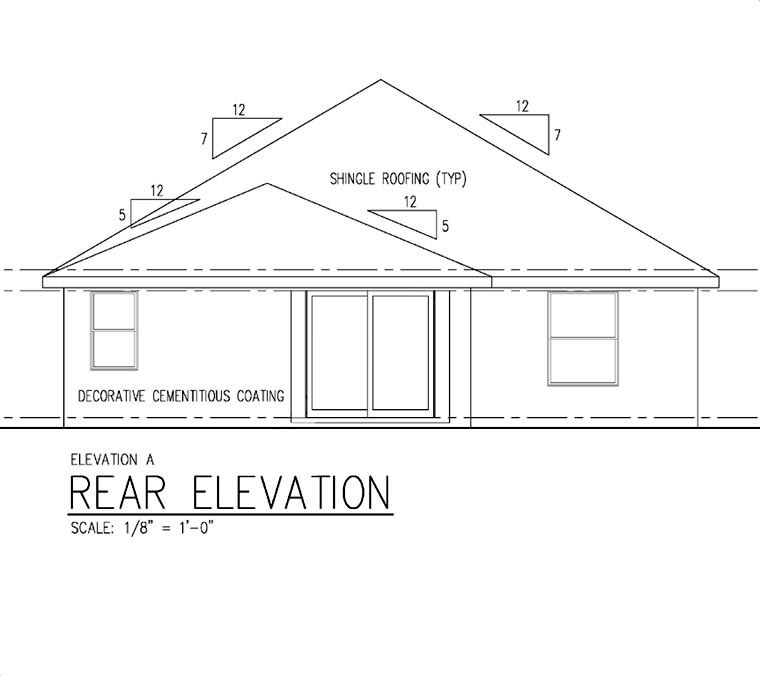 House Plan 66815 | Cottage Craftsman Florida Style Plan with 1596 Sq Ft, 3 Bedrooms, 2 Bathrooms, 2 Car Garage Rear Elevation