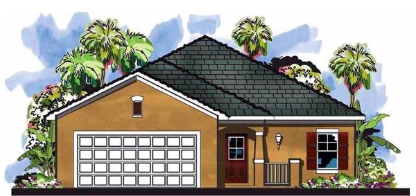 Cottage , Craftsman , Florida , Elevation of Plan 66818