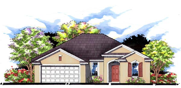 House Plan 66820 | Florida Ranch Traditional Style Plan with 1687 Sq Ft, 3 Bedrooms, 2 Bathrooms, 2 Car Garage Elevation