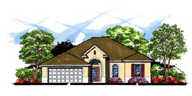 House Plan 66824 | Contemporary Florida Traditional Style Plan with 1745 Sq Ft, 3 Bedrooms, 2 Bathrooms, 2 Car Garage Elevation