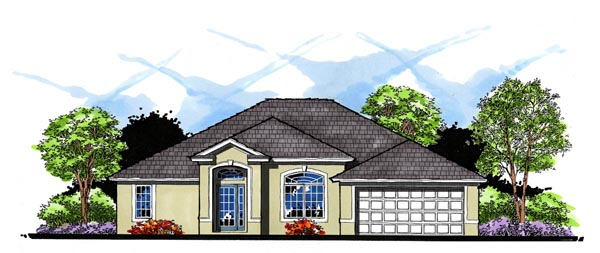 House Plan 66827 | Contemporary Florida Ranch Style Plan with 1779 Sq Ft, 3 Bedrooms, 2 Bathrooms, 2 Car Garage Elevation