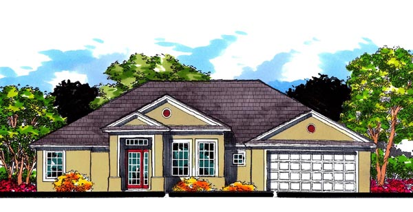 Florida Ranch Traditional House Plan 66831 Elevation