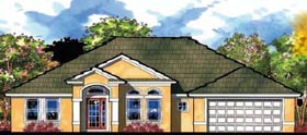House Plan 66835 | Florida Ranch Traditional Style Plan with 1944 Sq Ft, 4 Bedrooms, 2 Bathrooms, 2 Car Garage Elevation