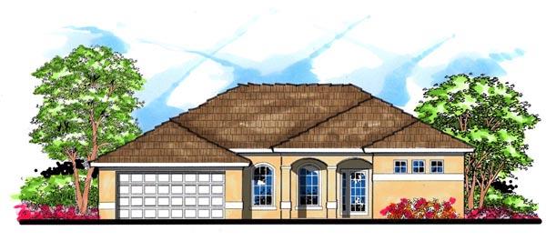 Contemporary, Florida, Mediterranean House Plan 66842 with 4 Beds, 3 Baths, 2 Car Garage Elevation