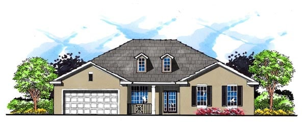 Country Florida Ranch Traditional House Plan 66843 Elevation