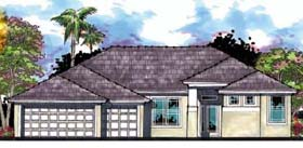 Contemporary , Florida , Ranch House Plan 66862 with 4 Beds, 3 Baths, 3 Car Garage Elevation