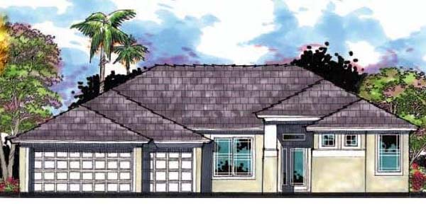 Contemporary, Florida, Ranch House Plan 66862 with 4 Beds, 3 Baths, 3 Car Garage Elevation