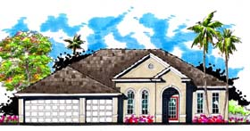 Contemporary Florida Ranch Traditional House Plan 66863 Elevation