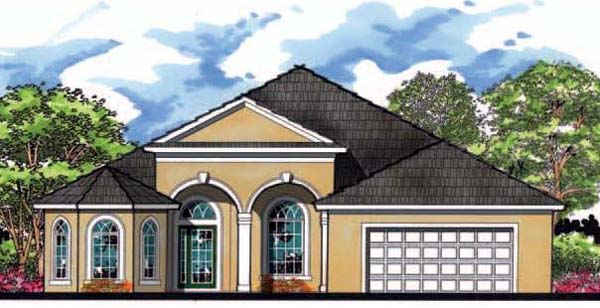 Contemporary, Florida, Ranch, Traditional House Plan 66865 with 4 Beds, 3 Baths, 2 Car Garage Elevation