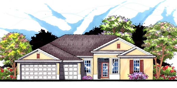Contemporary, Florida, Ranch, Traditional House Plan 66867 with 4 Beds, 3 Baths, 3 Car Garage Elevation
