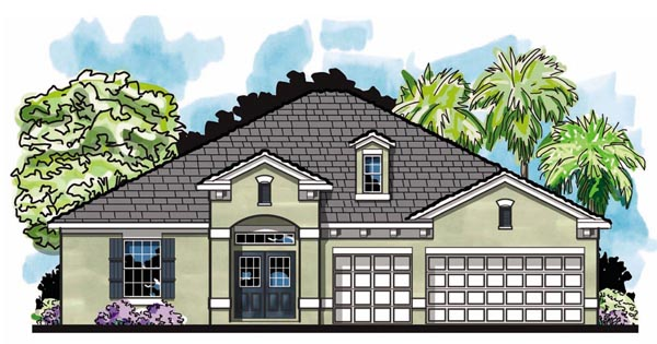 House Plan 66868 | Craftsman Florida Ranch Style Plan with 2513 Sq Ft, 4 Bedrooms, 3 Bathrooms, 3 Car Garage Elevation
