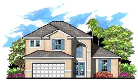 Traditional , Florida House Plan 66869 with 4 Beds, 3 Baths, 2 Car Garage Elevation