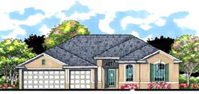 Contemporary , Florida , Ranch House Plan 66870 with 4 Beds, 3 Baths, 3 Car Garage Elevation