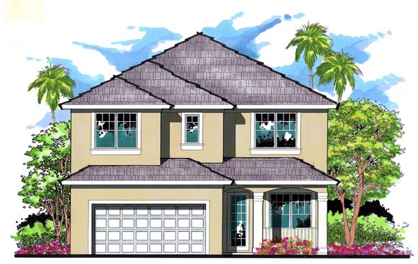 Florida, Traditional House Plan 66873 with 4 Beds, 3 Baths, 2 Car Garage Elevation