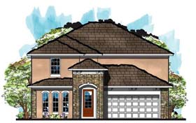 House Plan 66874   Cottage Florida Traditional Style Plan with 2607 Sq Ft, 4 Bedrooms, 3 Bathrooms, 2 Car Garage Elevation