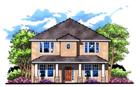 Traditional , Florida , Craftsman House Plan 66878 with 4 Beds, 3 Baths Elevation