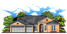 Contemporary Florida Ranch Traditional House Plan 66879 Elevation