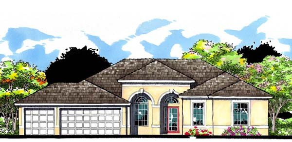 Contemporary Florida Ranch Traditional House Plan 66883 Elevation