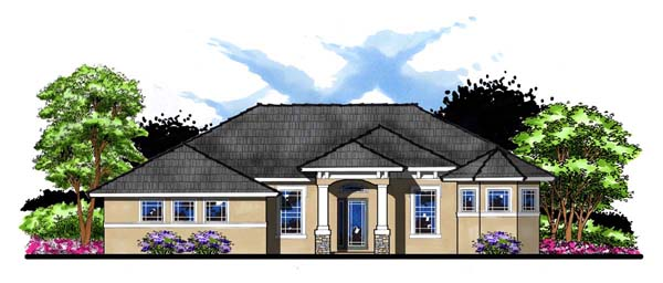 Craftsman Florida Ranch Traditional House Plan 66884 Elevation