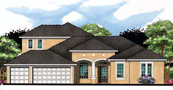 Contemporary , Florida , Ranch , Traditional , Elevation of Plan 66889