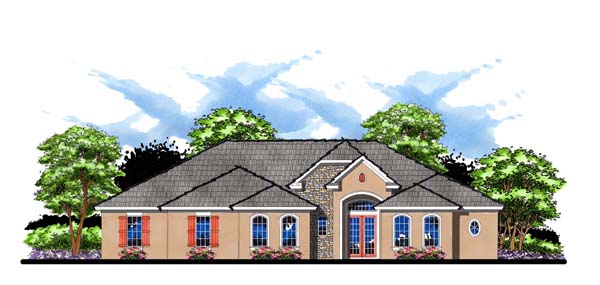 Contemporary Florida Ranch Traditional House Plan 66892 Elevation