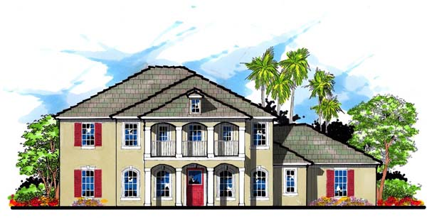 Colonial Florida Southern Traditional House Plan 66894 Elevation