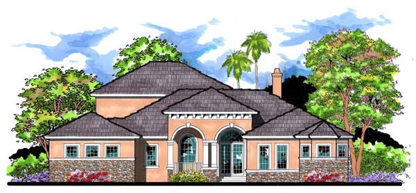 Contemporary, Florida, Traditional House Plan 66904 with 4 Beds, 4 Baths, 4 Car Garage Elevation