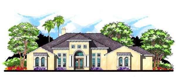House Plan 66907 | Contemporary Florida Mediterranean Traditional Style Plan with 4067 Sq Ft, 4 Bedrooms, 4 Bathrooms, 3 Car Garage Elevation