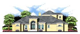 House Plan 66909 | Contemporary Florida Mediterranean Style Plan with 4373 Sq Ft, 4 Bedrooms, 4 Bathrooms, 3 Car Garage Elevation
