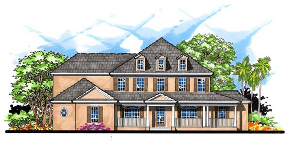 House Plan 66913 | Colonial Florida Traditional Style Plan with 4631 Sq Ft, 5 Bedrooms, 5 Bathrooms, 3 Car Garage Elevation