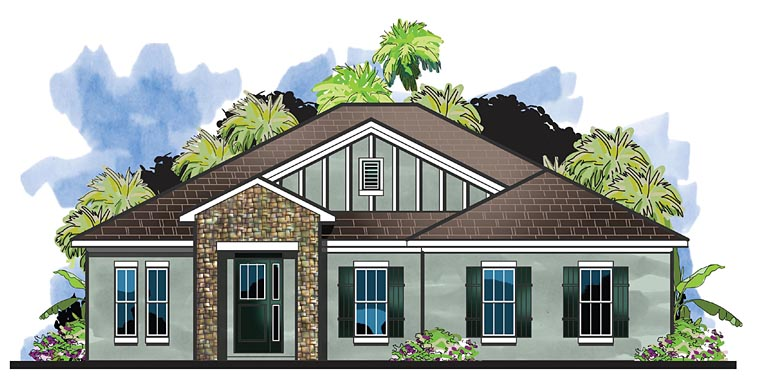 Cottage Florida Traditional House Plan 66924 Elevation