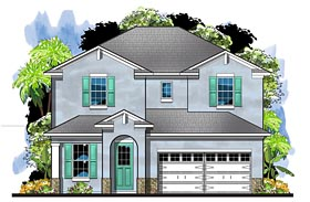 House Plan 66932 | Colonial European Florida Southern Style Plan with 2527 Sq Ft, 4 Bedrooms, 3 Bathrooms, 2 Car Garage Elevation