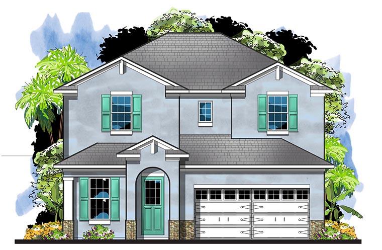 Colonial European Florida Southern House Plan 66932 Elevation