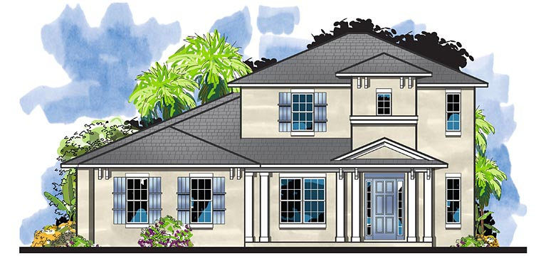 Colonial Florida Southern House Plan 66933 Elevation