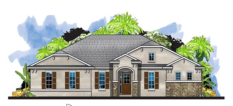 Craftsman, European, Florida House Plan 66935 with 4 Beds, 3 Baths, 2 Car Garage Elevation