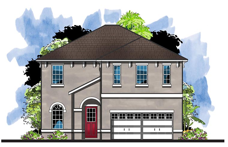 Colonial, Florida, Southern House Plan 66936 with 4 Beds, 4 Baths, 2 Car Garage Elevation