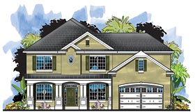 Colonial Florida Southern Traditional House Plan 66940 Elevation