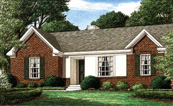 Ranch House Plan 67001 with 3 Beds, 2 Baths Elevation